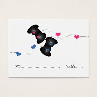 Geeky Gamer Wedding Place Cards Dark (Blue/Pink)