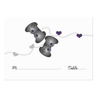 Geeky Gamer Wedding Place Cards (Silver/Purple) Large Business Cards (Pack Of 100)