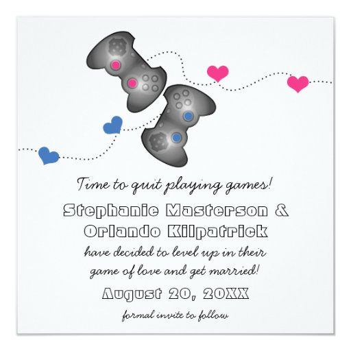 """Geeky Gamers Save the Date Announcement 5.25"""" Square Invitation Card"""
