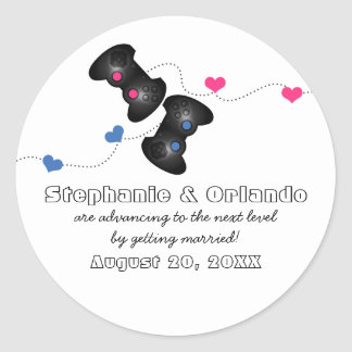 Geeky Gamers Save the Date Stickers Dark Blue/Pink