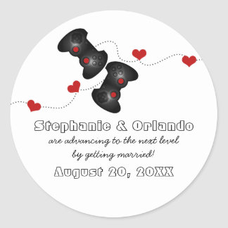 Geeky Gamers Save the Date Stickers, Dark Classic Round Sticker