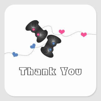 Geeky Gamers Thank You Stickers Dark (Blue/Pink)