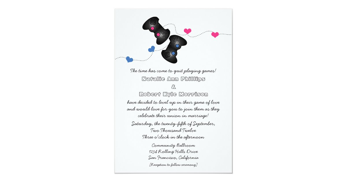 Dark Blue Wedding Invitations: Geeky Gamers Wedding Invitation Dark (Blue/Pink)