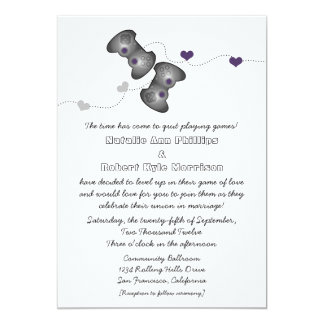 Geeky Gamers Wedding Invitation (Silver/Purple)