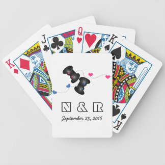 Geeky Gamers Wedding Playing Cards Dark Pink Blue