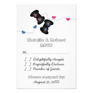 Geeky Gamers Wedding Response Card Dark, Blue/Pink