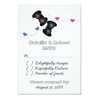 Geeky Gamers Wedding Response Card Dark, Blue/Pink Invitations