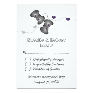 Geeky Gamers Wedding Response Card (Silver/Purple)