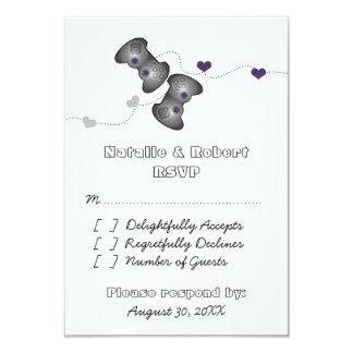 Geeky Gamers Wedding Response Card (Silver/Purple) Custom Invite