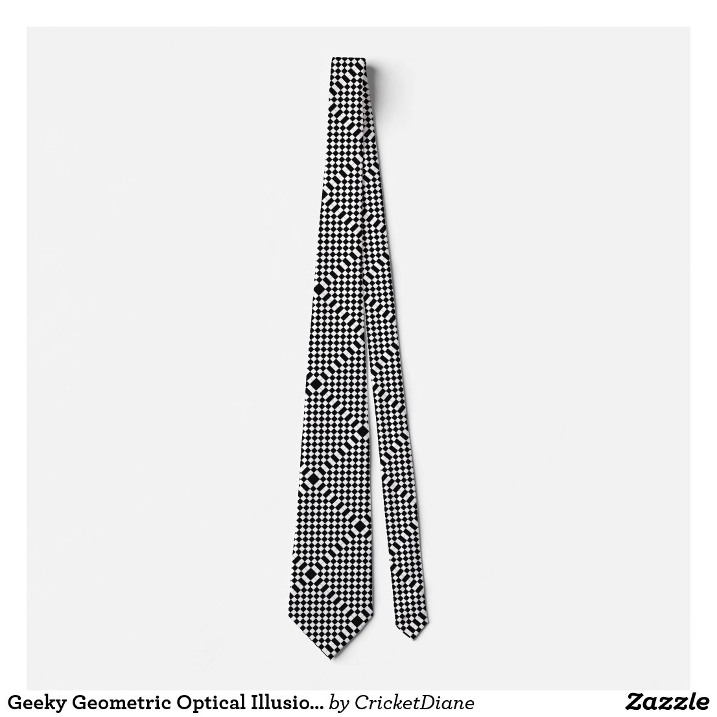 Geeky Geometric Optical Illusion Cool CricketDiane Neck Tie