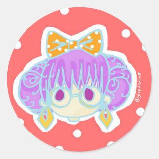 Geeky Girl Classic Round Sticker
