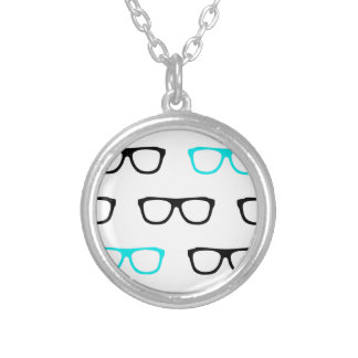 geeky glasses blue geek silver plated necklace
