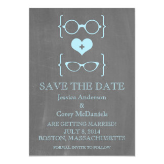 Geeky Glasses Chalkboard Save the Date Invite