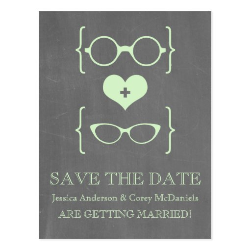 Geeky Glasses Chalkboard Save the Date Postcard