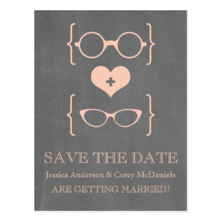 Geeky Glasses Chalkboard Save the Date Postcard v2