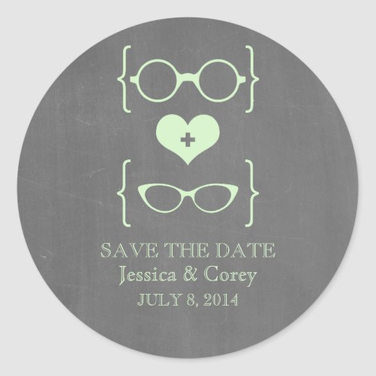 Geeky Glasses Chalkboard Save the Date Stickers
