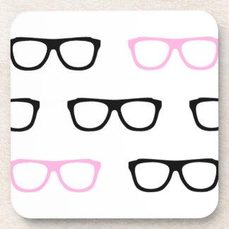 geeky glasses pink geek beverage coaster
