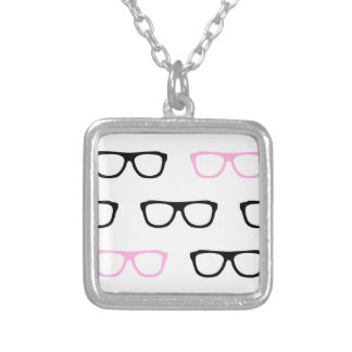 geeky glasses pink geek silver plated necklace