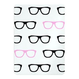 geeky glasses pink geek wedding invitations