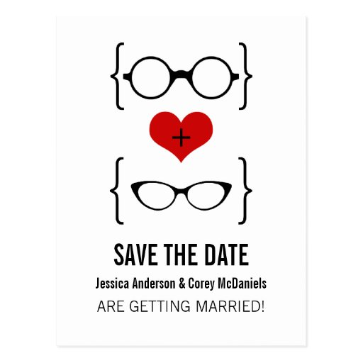 Geeky Glasses Save the Date Postcard