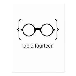Geeky Glasses Table Number Postcard Orange Bkgrd1b