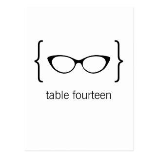 Geeky Glasses Table Number Postcard Orange Bkgrd2b