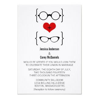Geeky Glasses Wedding Invitation