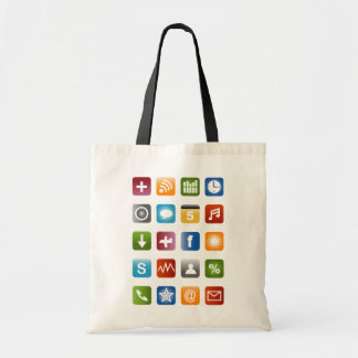 Geeky hipster tote bag with smartphone icons