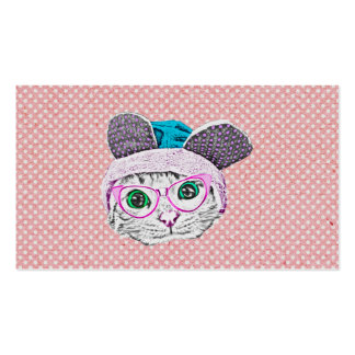 Geeky Kitty Cat with Bunny Hat & Glasses Business Card Template
