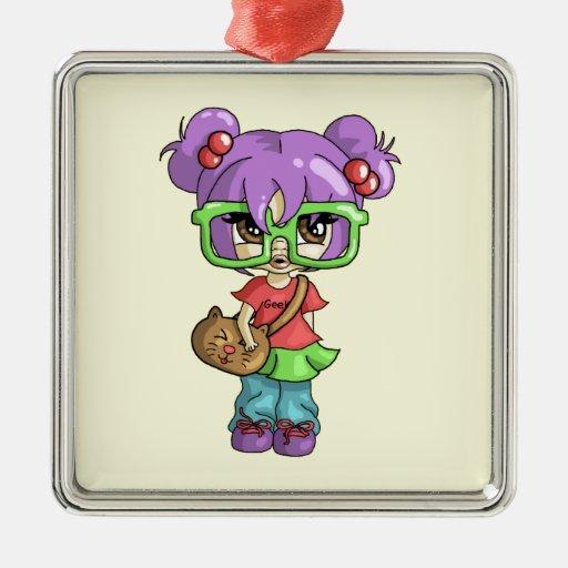 Geeky Kitty Metal Ornament