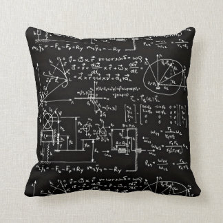 Geeky Math Mathematics Black Throw Pillow
