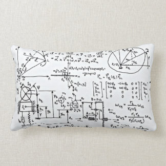 Geeky Math Mathematics Black White Lumbar Pillow