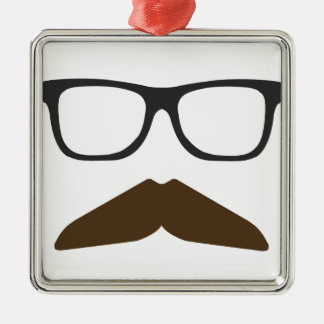 Geeky Moustache Metal Ornament