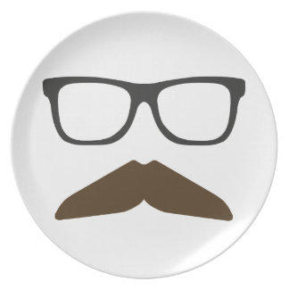 Geeky Moustache Dinner Plates