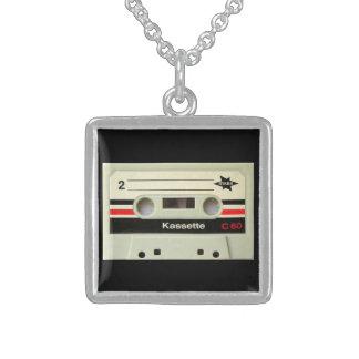 Geeky nerdy 1980s cassette retro cassette tape sterling silver necklace