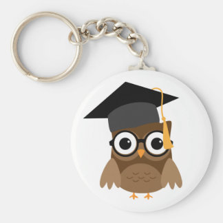Geeky Owl with Glasses and Cap Graduation Keychain
