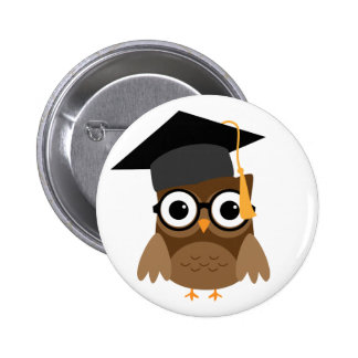 Geeky Owl with Glasses andGraduation Cap Button
