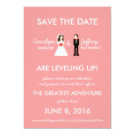 "Geeky Pink 8-Bit Save the Date 5"" X 7"" Invitation Card"