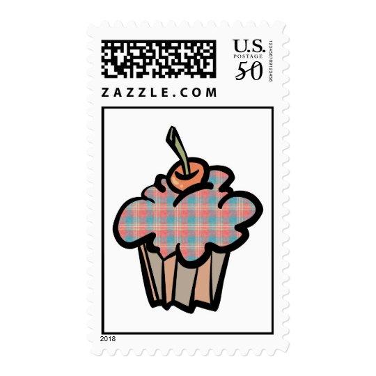 geeky plaid cupcake postage