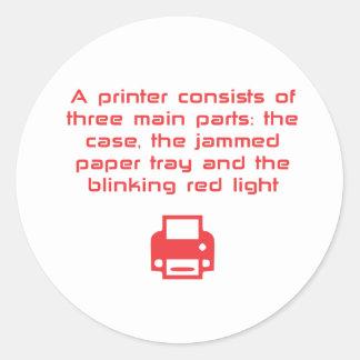Geeky printer joke classic round sticker