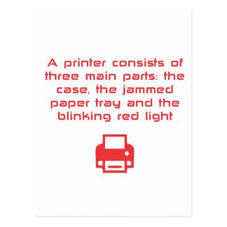 Geeky printer joke postcard