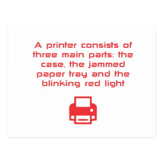 Geeky printer joke postcard
