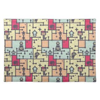 geeky robot maze pattern vector placemats