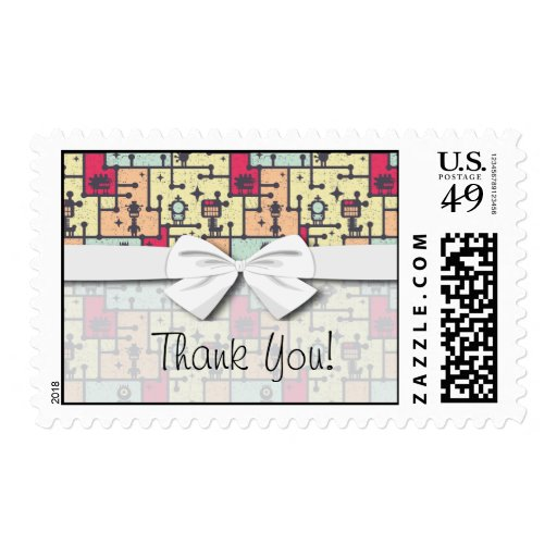 geeky robot maze pattern vector postage