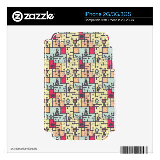 geeky robot maze pattern vector skins for iPhone 3GS