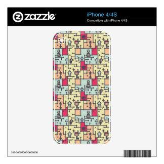 geeky robot maze pattern vector iPhone 4S decals