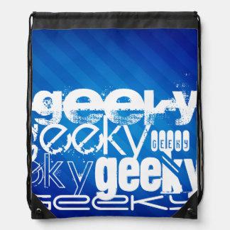 Geeky, Royal Blue Stripes Cinch Bags