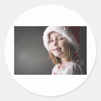 geeky santa elf classic round sticker