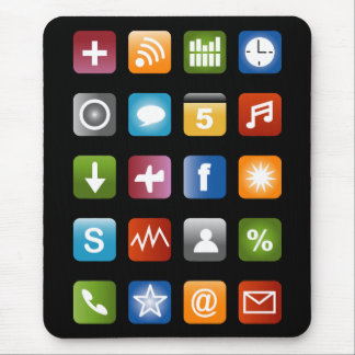 Geeky smartphone app icons mouse pad