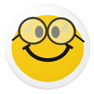 Geeky smiley face - cute nerd ceramic knob